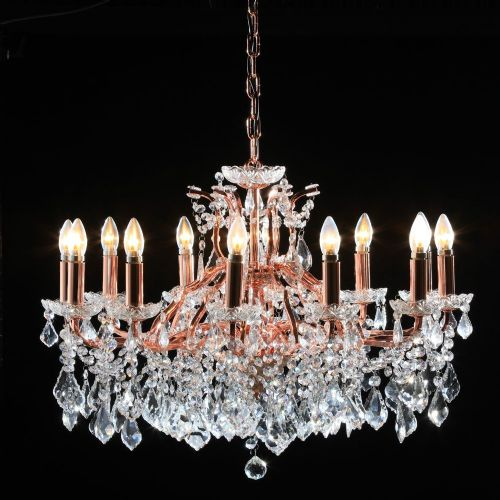 Antique French Cut Glass Copper and Gold Chandelier 12 arm